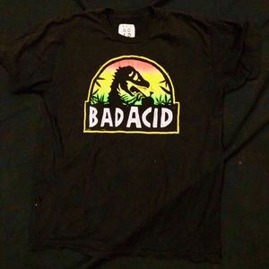 Bad Acid T - Shirt. Jurassic Park graphic.